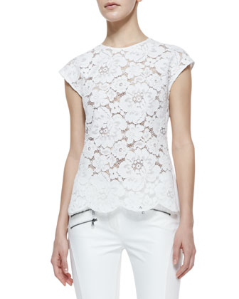Shanine Lace-Front Cap-Sleeve Top