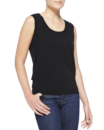 Sleeveless Cashmere Top, Black