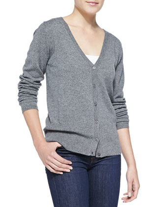 Button-Front Cashmere Cardigan, Gray