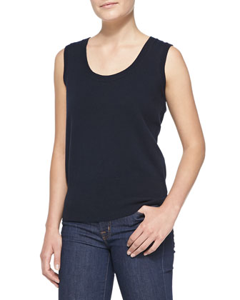 Sleeveless Cashmere Top, Navy