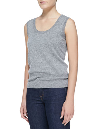 Sleeveless Cashmere Top, Gray