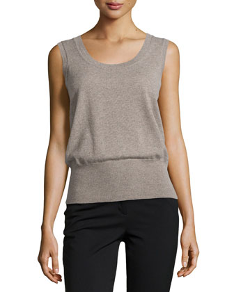 Sleeveless Cashmere Top, Taupe