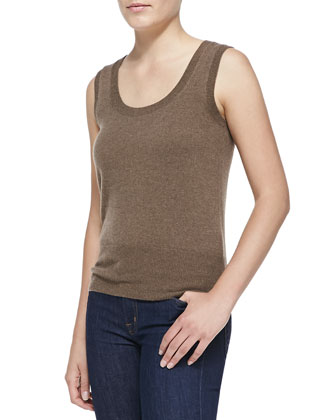 Sleeveless Cashmere Top, Oak
