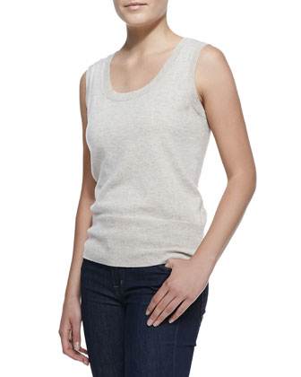 Sleeveless Cashmere Top, Champagne