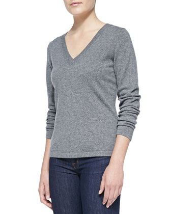 V-Neck Cashmere Pullover Sweater, Gray