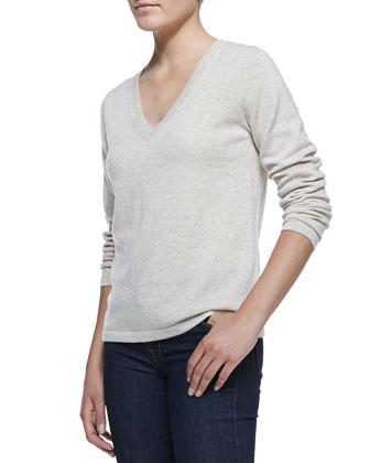 V-Neck Cashmere Pullover Sweater, Champagne