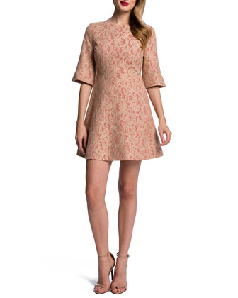 Floral Lace Half-Sleeve Fit-&-Flare Dress