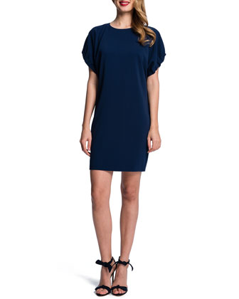 Shirred-Sleeve Crewneck Shift Dress