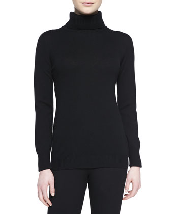 Cashmere Long-Sleeve Turtleneck, Black