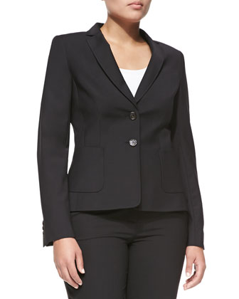 Two-Button Blazer, Black, Women's