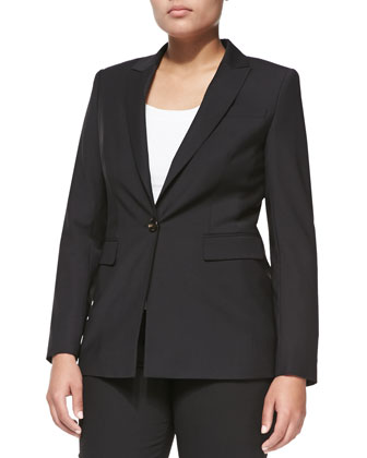 One-Button Crepe Blazer, Black, Women's