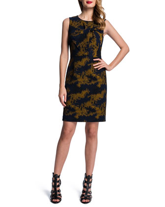Sleeveless Jacquard Sheath Dress