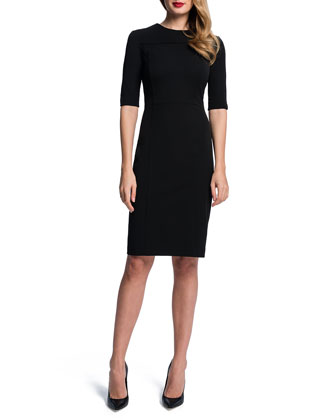 Half-Sleeve Seamed Sheath Dress