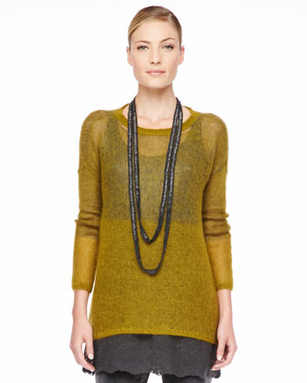 Plaited Mohair-Blend Jewel-Neck Tunic, Petite