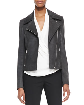 Lambskin Leather Zip-Front Moto Jacket, Rita Contrast-Trim French-Cuff ...