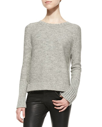 Anise Knit Zip-Off Coat, Helms Knit Bateau-Neck Sweater & Claudette Leather ...