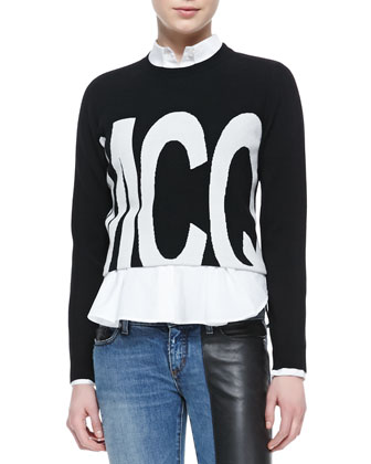 McQ Logo Cropped Sweater, Flounce-Bottom Mid-Seam Shirt & Faux-Leather ...