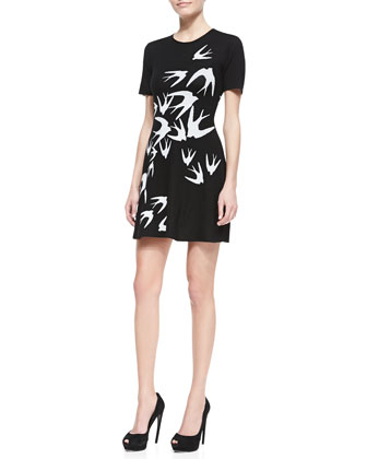 Crepe Starling-Print Short-Sleeve Dress