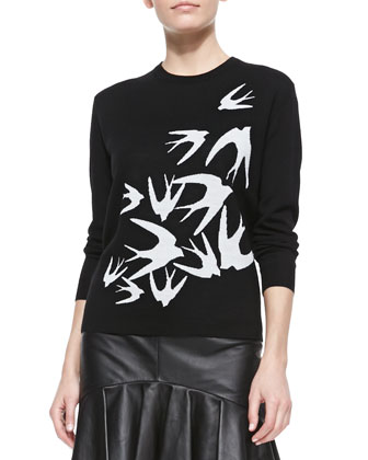 Starling-Design Crewneck Sweater & Lambskin Flounce-Hem Skirt
