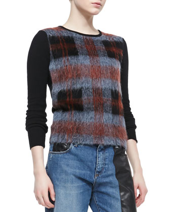 Mohair Plaid-Front Crewneck Sweater