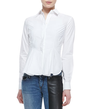 Cotton Flounce-Bottom Mid-Seam Shirt