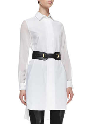Poplin & Sheer Long-Sleeve Shirtdress