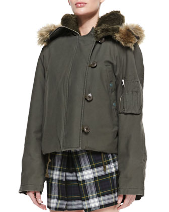 Faux-Fur Hooded Cropped Jacket, Parka Gray-Green