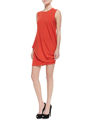 Silk Side Twisted-Drape Sleeveless Dress