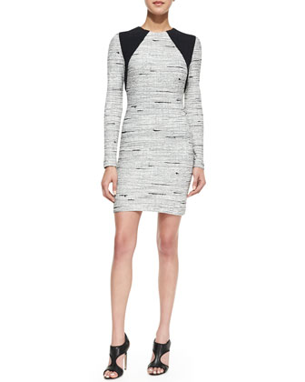 Long-Sleeve Knit Jacquard Sheath Dress