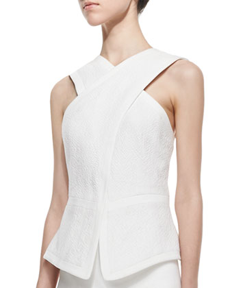 Munson Cross-Front Cutout-Back Top, Off White