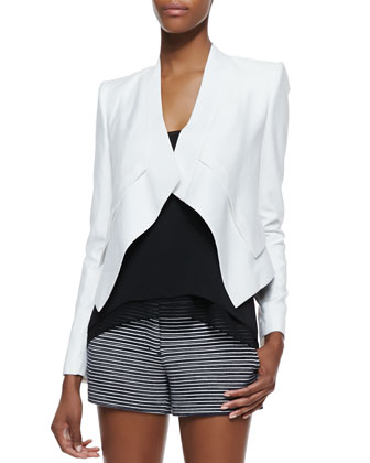 Lloyd Draped Open-Front Jacket, Lyssa Sheer-Trim Sleeveless Tank & Pia ...