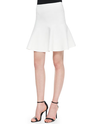 Ingrid A-Line Stretch-Knit Skirt, Gardenia