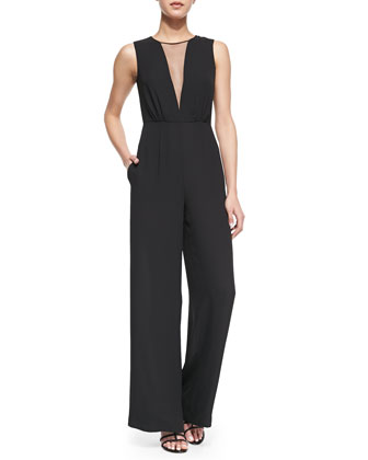 Behati Mesh-Inset Wide-Leg Jumpsuit, Black
