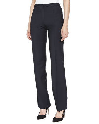 Skinny Wool-Blend Pants, Navy