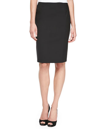 Pencil Skirt with Slit, Black