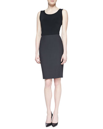 Pencil Skirt with Slit, Gray