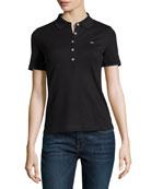 Short-Sleeve Pique Polo Shirt, Black