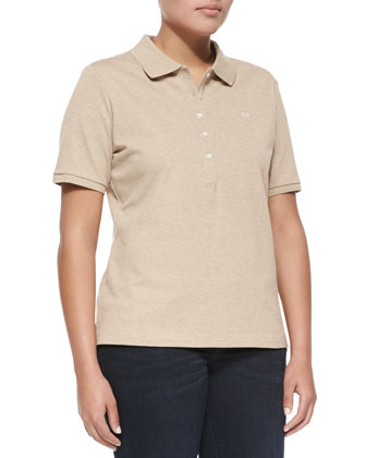 Short-Sleeve Polo, Beige Melange