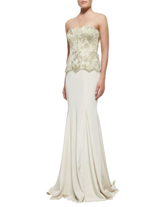 Strapless Brocade-Bodice Gown