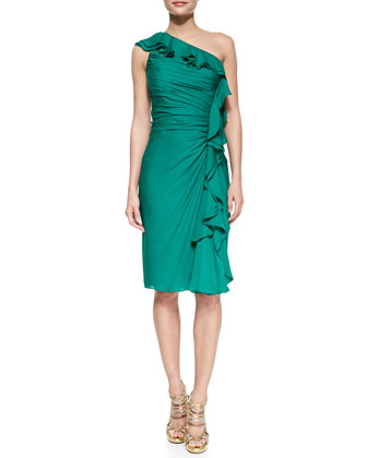 One-Shoulder Ruffle Cocktail Dress
