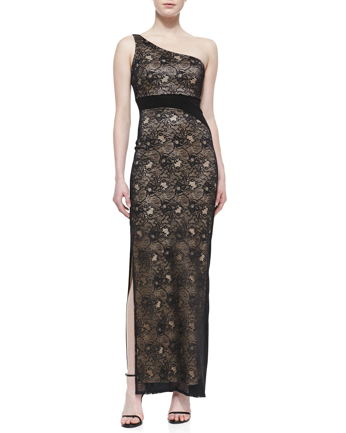 Womens One Shoulder Stretch Lace Gown, Black   Laundry by Shelli Segal   Black