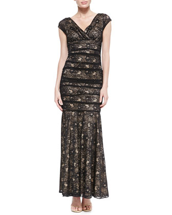 Cap-Sleeve Lace Mermaid Gown, Black