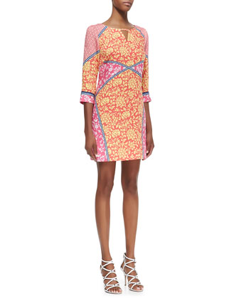 3/4-Sleeve Mixed Print Keyhole Dress, Calypso Coral/Multicolor