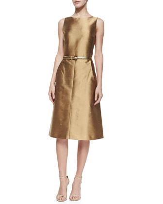 A-Line Shantung Dress, Beige
