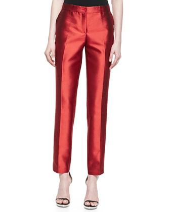 Samantha Slim Shantung Pants, Coral