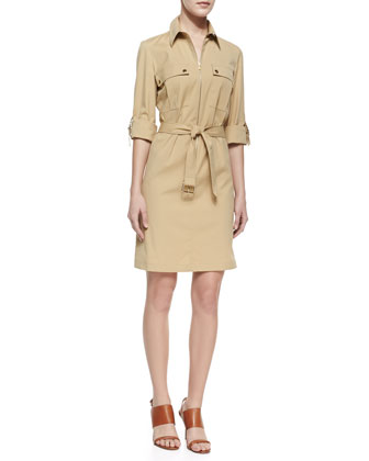 Belted Zip Poplin Shirtdress, Beige