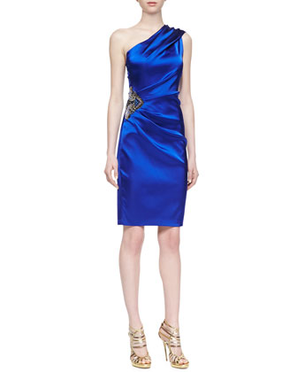 One-Shoulder Satin Dress, Deep Royal