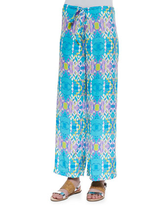 Bree Long-Sleeve Silk Blouse & Max Printed Wide-Leg Pants