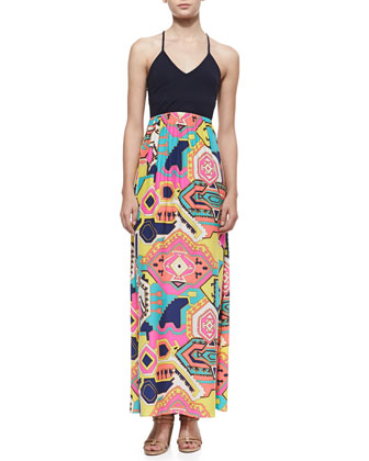 Beverly Printed-Skirt Maxi Dress