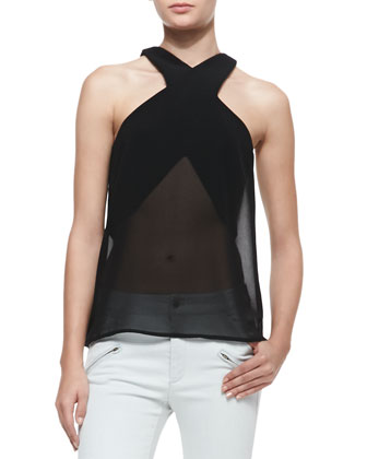 Paper Thin Sheer Cross-Neck Top